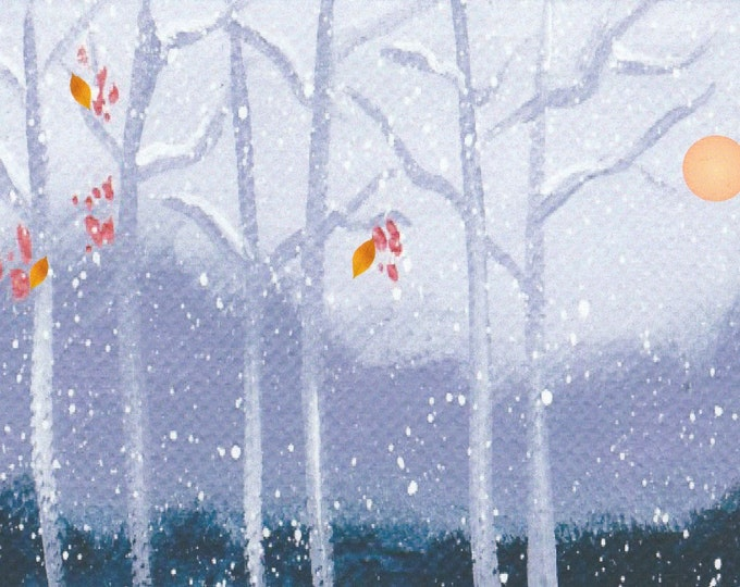Beautiful Winter Scene First Snow Last leaves Christmas card winter solstice