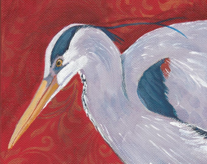 Heron original painting great blue heron FREE U.S. shipping