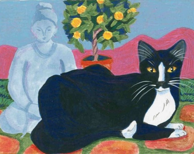 Zen Garden Cat original art