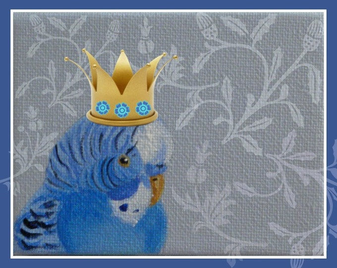 Crowned Budgie note card