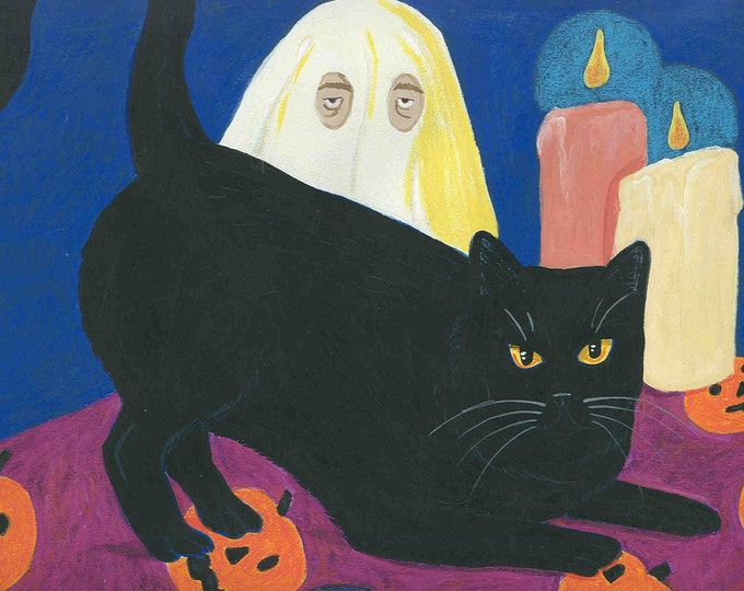 Spooky and Boo blank halloween card