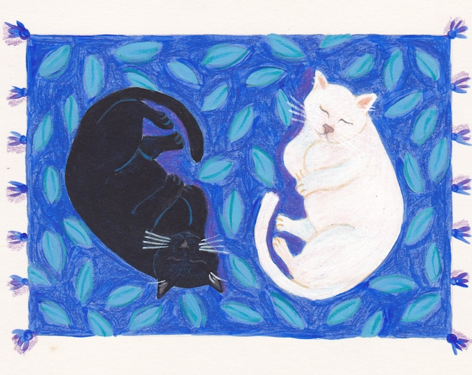 Yin Yang cats blank greeting card