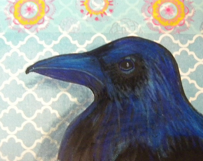 Raven Crow ACEO  original mixed media blue mandala washi tape