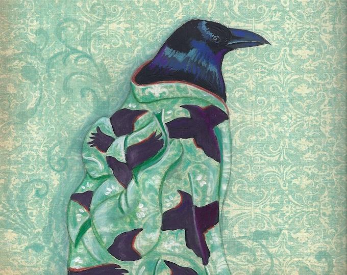 Corvid Kimono art print matted
