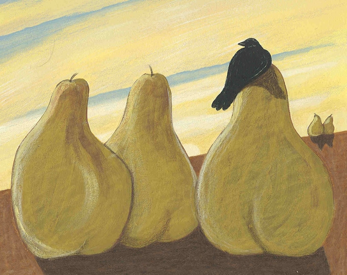 Giant pears and raven greeting card