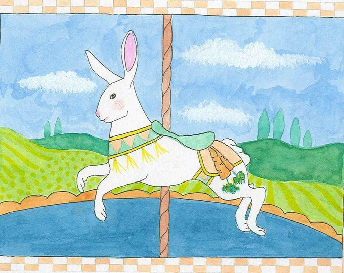 Bunny Carousel greeting card