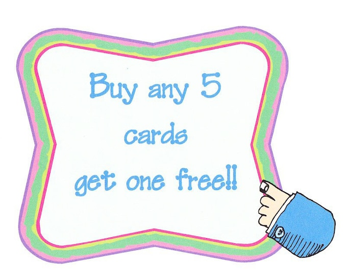 Value pack!!! Buy any 5 cards and get one free!