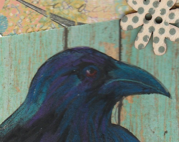 Raven  Crow ACEO original mixed media blue fence daisy button