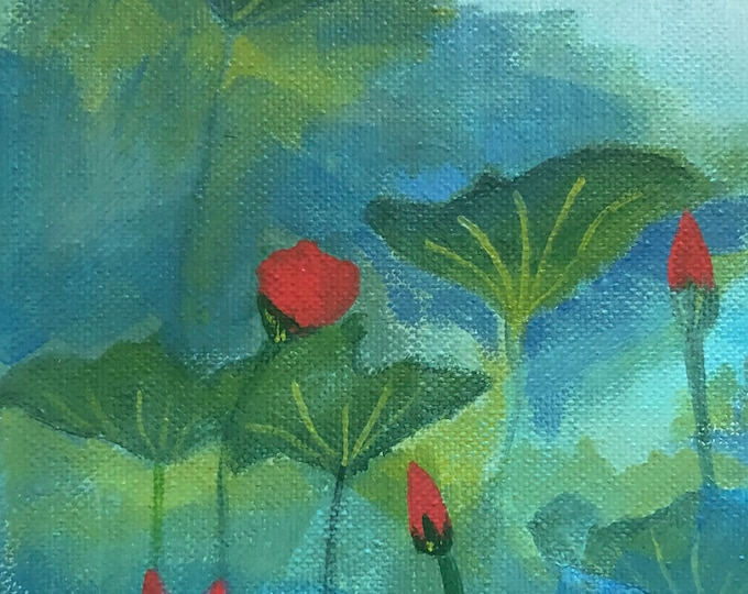 Lotus In The Mist original painting