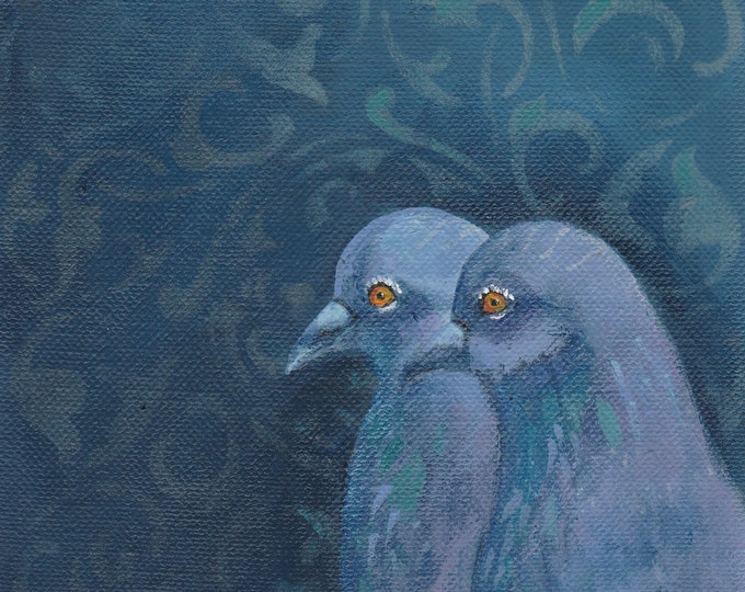 Beautiful Pigeon Couple original painting soulmates