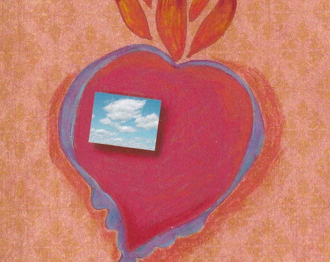 Beautiful flaming heart milagro love card valentine