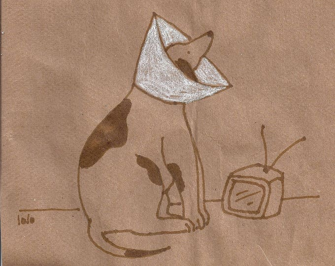Dog satellite funny blank greeting card