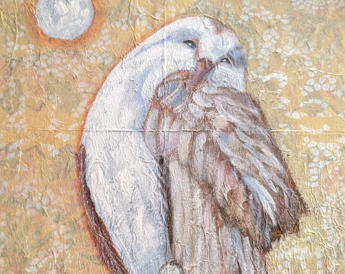 Sacred Moon owl blank greeting card