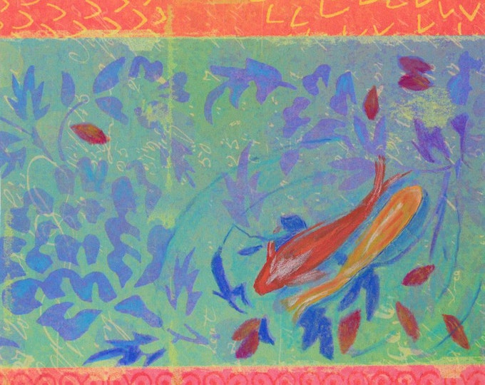 Autumn Koi fish greeting card