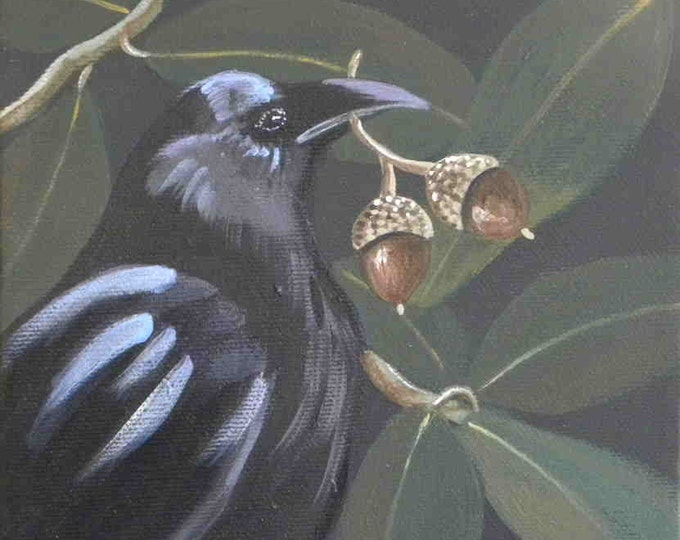Double Happiness raven and acorn print