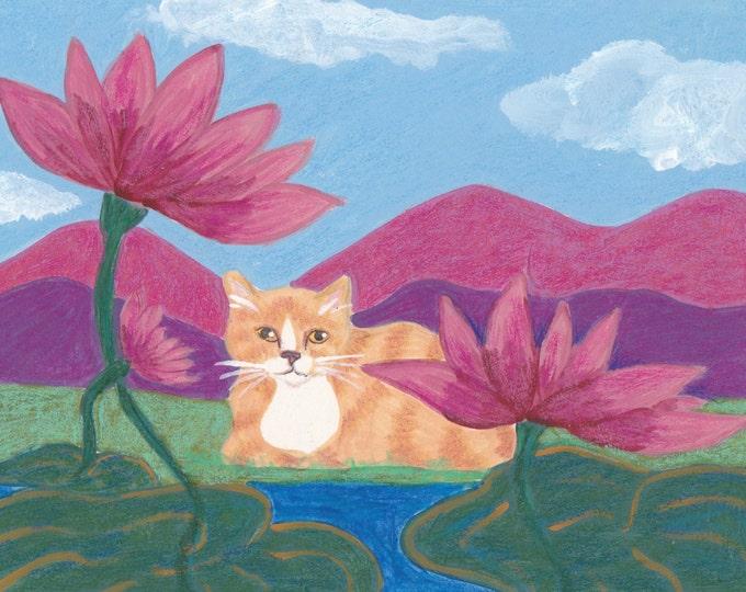 Zen Lily Pad Cat blank card