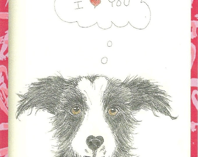 Loveable Mutt Blank greeting Card valentine