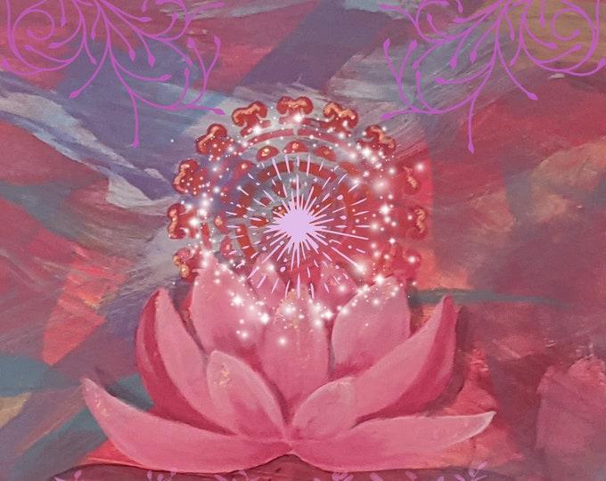 Lotus magic blank greeting card
