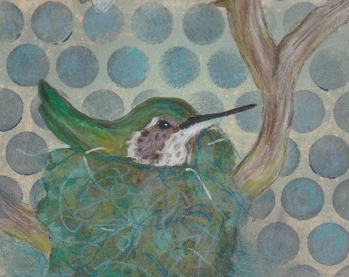 Nesting Hummingbird and Bee greeting card blank