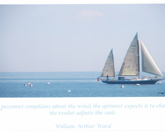 Pessimist vs. Realist quote LARGE photo card sailboat