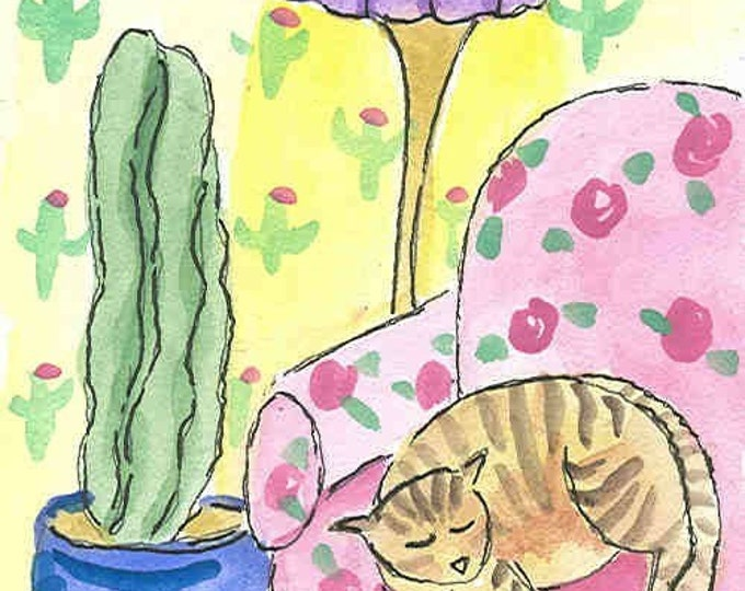 Kitty and Cactus notecard