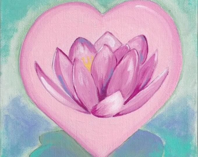 Lotus Flower Heart greeting card valentine