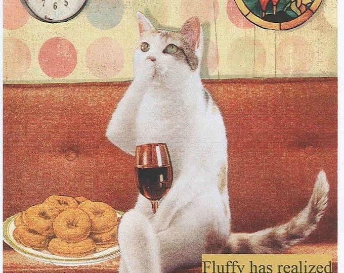 Wine Cat humorous blank greeting card