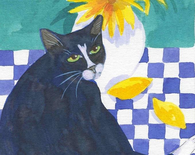 Cat and Lemons notecard