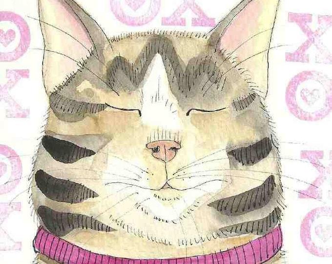 Fat Cat Love xoxo notecard