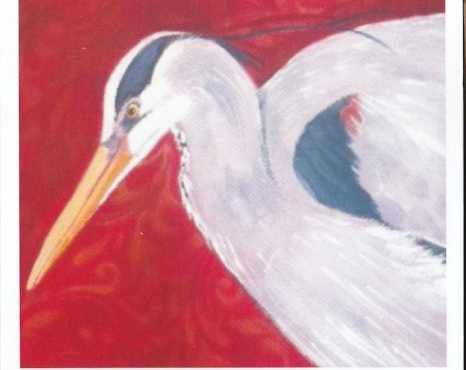 Blue Heron Brocade blank greeting card