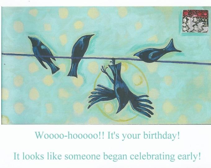 Clumsy crow birthday card blank inside