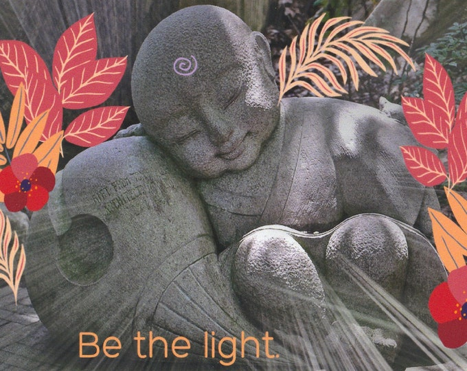 Be The Light digital collage blank card