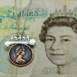 Young Queen Elizabeth Pendant Necklace sterling silver British copper coin mixed metals