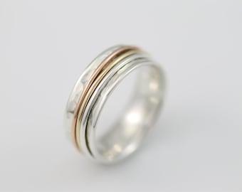 Narrow Tri Color Meditation Ring, spinner ring, sterling silver ring, meditation, silver ring, meditation ring