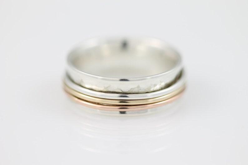 meditation ring meditation sterling silver ring Narrow Tri Color Meditation Ring silver ring spinner ring