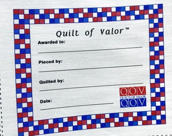 Quilts of Valor, Checkered Patriotic Label --Free Shipping