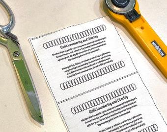 13 Quilt Care Labels, black circle chain