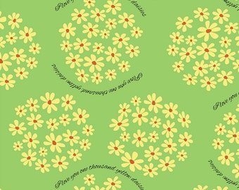 """I love you 1,000 yellow daisies fabric yard-- 56"""" wide quilting cotton"""