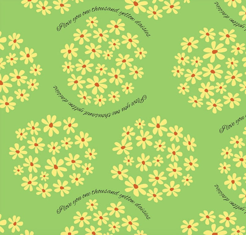 I love you 1000 yellow daisies fabric yard 56 wide image 0