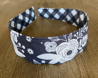 Comfortable Headband-- Washable, reversible-- gray & white modern floral/ grey gingham
