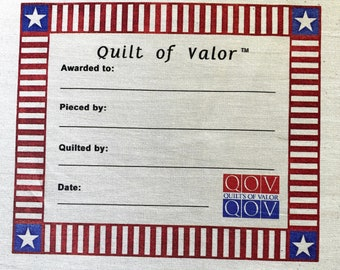 Quilts of Valor, Star Corner Stripe Quilt Label --Free Shipping