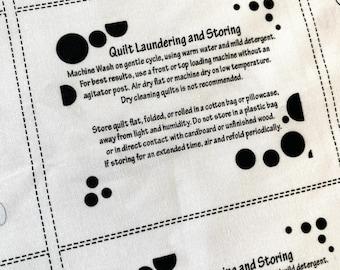 13 Quilt Care Labels, black bubbles