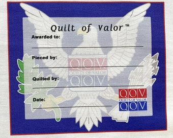 Quilts of Valor, Bald Eagle Quilt Label --Free Shipping
