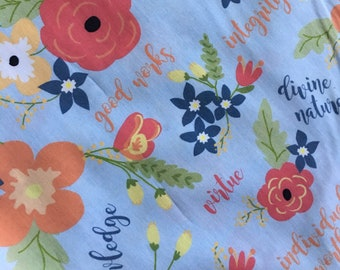 "56"" wide Fabric -LDS Young Women's Values Floral Fabric by April Cobb"