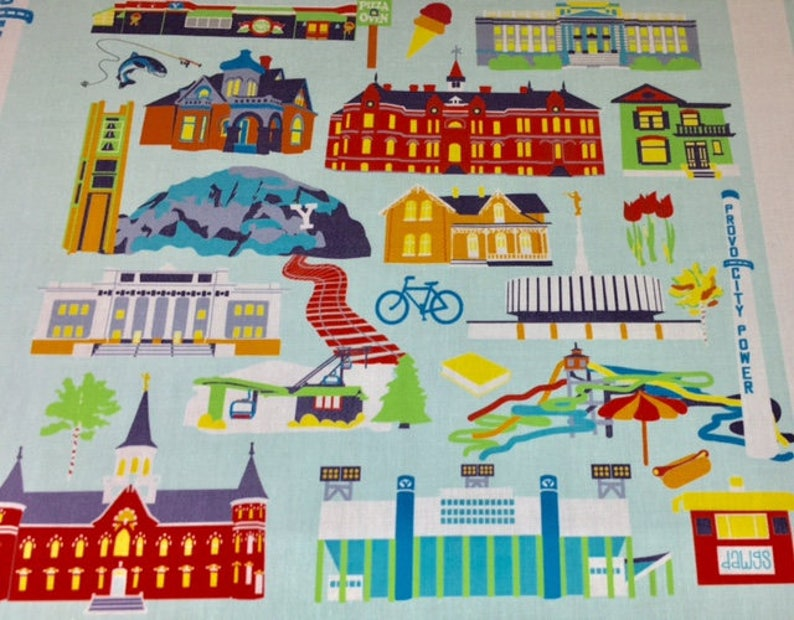 Provo Utah Fabric 56 wide print on Quilting Cotton