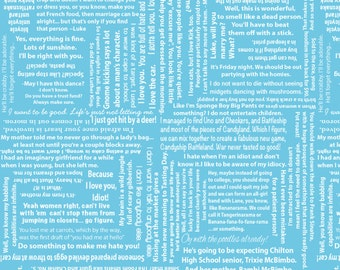 Gilmore Words Fabric-- Great quotes from the show, Gilmore Girls
