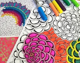 Set of Floral Coloring Pages Mums Sunflowers