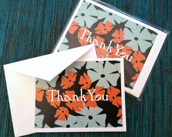Flowers Floral Thank You Card Set Four Pack