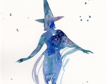 """Abstract Goddess Witch Watercolor painting, Original  art Spell, Dance, Wicca, Pagam, Witch, Spiritual """"Witch"""" by Kathy Morton Stanion"""