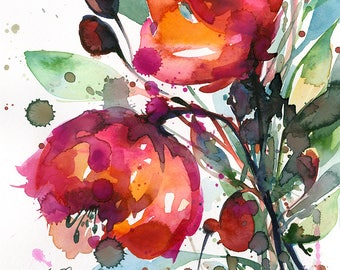 "Abstract Flower Painting, poppy, poppies pink, red floral art, plant, poppy, blooms, ""Floral Dreams No. 9"" by Kathy Morton Stanion EBSQ"